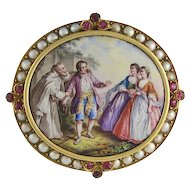 19th Century 18K Gold, Ruby & Cultured Pearl Swiss Enamel Brooch
