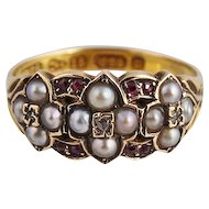 English 15C Ruby Cultured Seed Pearl and Mine Cut Diamond Ring