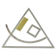 Sterling & 22K Gold Modernist Pin by E. Rubio Azarte
