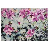 """William Garbe """"Flowering Tree"""" Watercolor 1977"""