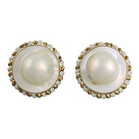Large 14K Blister Cultured Pearl and Diamond Clip Back Earrings