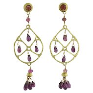 18K Gold and Faceted Pink Tourmaline Drop Pierced Earrings