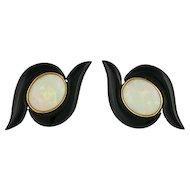 14K Gold Opal and Onyx Pierced Post Earrings