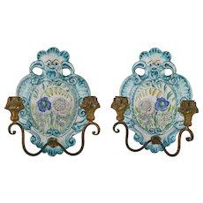 Pair Of Italian Faience Pottery Sconces