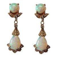 Vintage 18K Gold Opal and Diamond Pierced Earrings