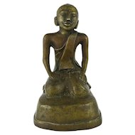 Early Burmese Bronze Of A Seated Monk