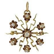 Victorian 14K Gold and Diamond Starburst Pin Pendant