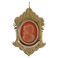 Victorian Etruscan Revival 14K Gold Carved Carnelian Cameo Pendant Pin