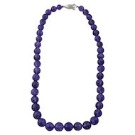 Vintage Faceted Amethyst Bead Necklace Silver Clasp
