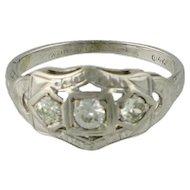 Art Deco 14K Gold Diamond Filigree Ring