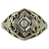 Late Victorian 14K White & Yellow Gold Diamond Filigree Ring