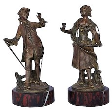 Pair Of Small Bronze Figural Sculptures 18th Century Style