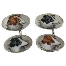 Pair Enamel And 800 Silver Sporting Dog Cufflinks