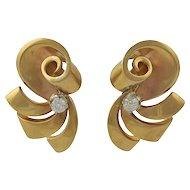 Retro 18K Gold and Diamond Pierced Earrings