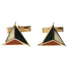 14K Gold Triangular Inlaid Hardstone Toggle Cufflinks