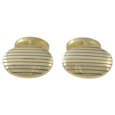 Heavy Tiffany & Co. 18K White & Yellow Gold Striped Cufflinks