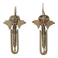 Victorian 14K Gold Dangling Pierced Earrings