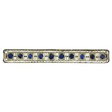 Art Deco Platinum & Cornflower Blue Sapphire Bar Pin