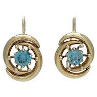Retro 14K Gold Blue Zircon Pierced Earrings