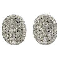 18K White Gold Pave Diamond Oval Pierced Earrings