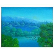 "Charles Dufranc Haitian "" Landscape "" Oil On Canvas"