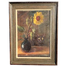 Christina Edson Danish / American Still Life With Cat Oil On Canvas
