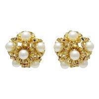 Vintage 14K Gold Cultured Pearl Clip Back Earrings