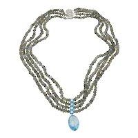 14K White Gold Clasp – 4 Strand Labradorite Bead Necklace Blue Zircon Drop