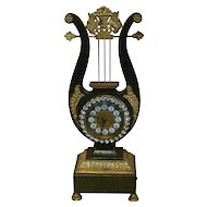 Nineteenth Century French Gilt Bronze Lyre Neoclassical Clock