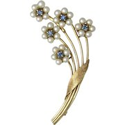 14K Gold Cultured Pearl and Sapphire Floral Bouquet Brooch
