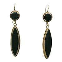 Vintage 14K Gold and Onyx Pierced Drop Earrings