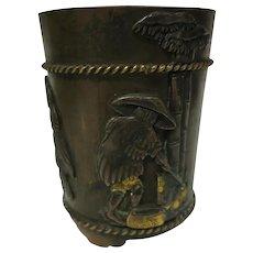 Japanese Meiji Mixed Metal Bronze Miniature Vase