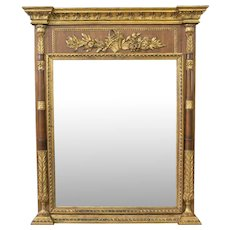 Large Italian Neoclassical Style Carved Gilt Wood Mirror