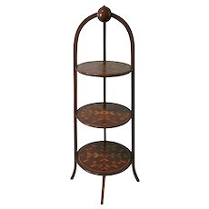 Antique Marquetry Inlaid Mahogany Muffineer Stand