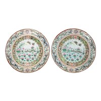 16 Chinese Export Porcelain Plates with a Scenic Motif