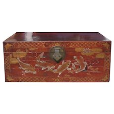 Chinese Decorated Leather Chest / Table On Stand