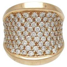 Fabulous 18K Rose Gold Pave Diamond Ring