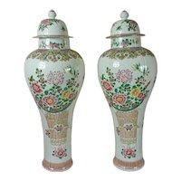 """Pair Of French Samson Porcelain """"Chinese"""" Baluster Vases"""
