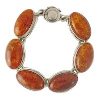 N.E. From Denmark Sterling Silver Amber Link Bracelet