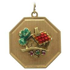 Vintage 14K Gold Ruby Emerald Enamel House Charm