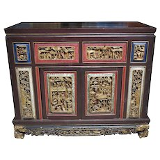 19th Century Chinese Carved Painted And Gilt Cabinet