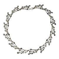 Vintage Alice Caviness Sterling Silver Flower Link Necklace