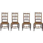 Set Of Four English Turned Ash Rush Seat Chairs 18th Century