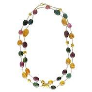 18K Gold Tourmaline & Citrine Long Chain Necklace