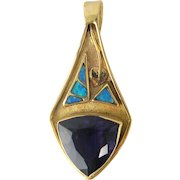 14K Gold Post Modern Black Opal And Amethyst Pearl Enhancer Pendant