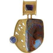Vintage 14K Gold Iolite, Amethyst & Opal Pendant Wendy Newman