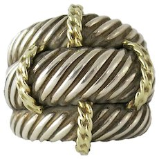 David Yurman Sterling 14K Gold Large Cable Ring