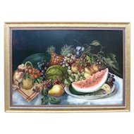 19th Century American Still Life With Watermelon
