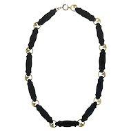 Victorian Revival Onyx 14K Gold Diamond Necklace