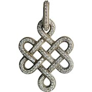 Chunky Sterling Silver and Diamond Pendant
